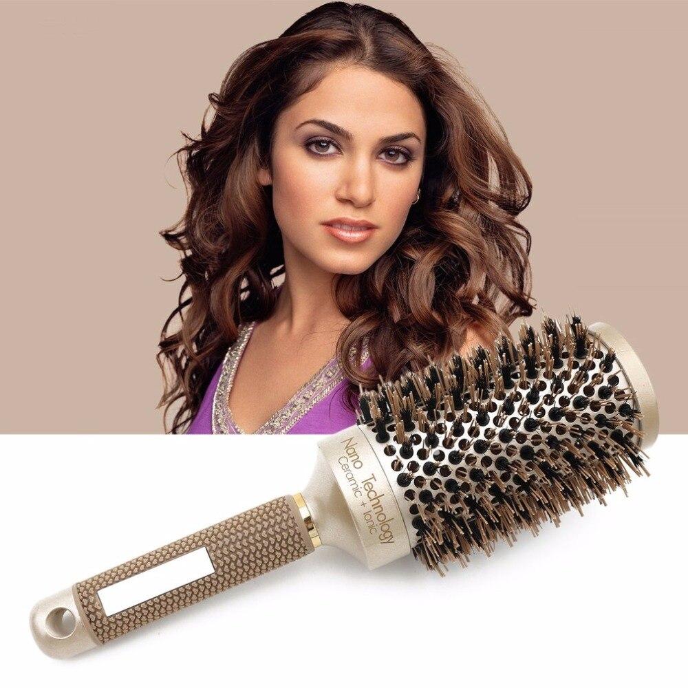 где купить Ceramic Aluminium Professional Tangle Hair Comb Round Hair Brush Hairbrush Hairdressing Combs For Salon Barber Styling Tools дешево