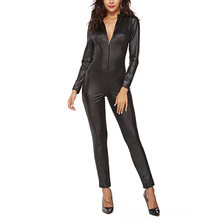 Sexy Women Black Latex Bodysuit Women Open Crotch Zipper Faux Leather catsuit PU Leather Jumpsuit Plus Size Pole Dance Rompers топ и стринги faux leather open top