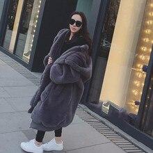 Plus Size Faux Fur Coat Woman With Hood Black Long Faux Fur Jacket Women Winter Coat Oversized Hoodie Zipper 2019