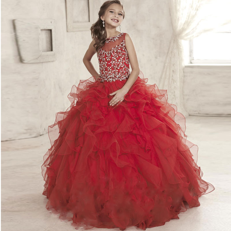Luxurious Jewel Beaded Princess Girl Pageant Ball Gowns Sleeveless Flower Girl Dress Lace Up Ruched Lace Tulle Kids Prom Dresses gorgeous lace beading sequins sleeveless flower girl dress champagne lace up keyhole back kids tulle pageant ball gowns for prom