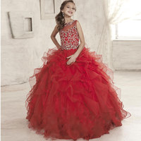 Luxurious Jewel Beaded Princess Girl Pageant Ball Gowns Sleeveless Flower Girl Dress Lace Up Ruched Lace Tulle Kids Prom Dresses