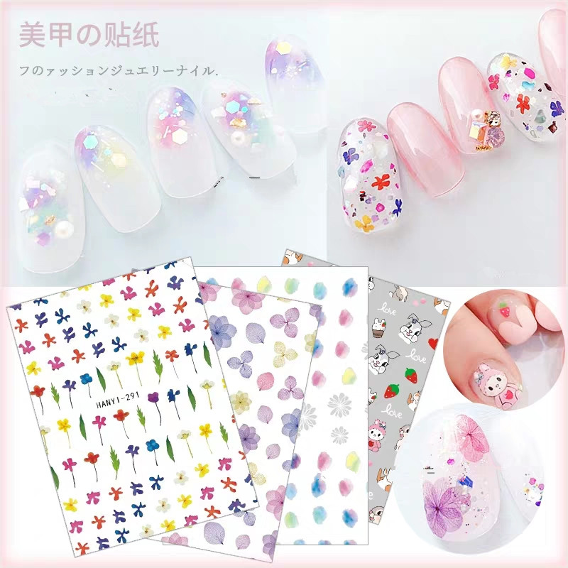 Newest HAXX-289 288 spring flower design 3d nail sticker art decals Japan type DIY decorations for wraps