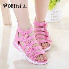 WOBIPULL 2017 girls sandals Children s lovely pearl flowers Roman sandals kids summer Thick bottom non