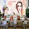 Free Shipping Custom Bedroom Wallpaper Watercolor Beauty Makeup Shop Nail Shop Background Wall Mural