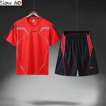HOWE AO szybkie suche zestawy kompresyjne koszulka z krótkim rękawkiem + spodenki męski zestaw do biegania strój sportowy fitness mężczyźni Outdoor komplet do joggingu tanie i dobre opinie