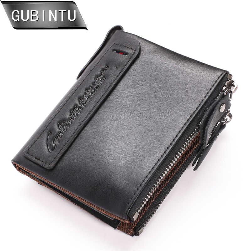 GUBINTU Модный женский кошелек из натуральной кожи, двойной бумажник, держатель для ID карты, карманы для монет с двойной молнией, Мини кошельки бумажники