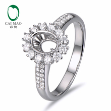 Caimao 5x7mm Oval Cut Semi Mount Setting Ring 14K White gold Natural 0.56ct Diamond Engagement Jewelry