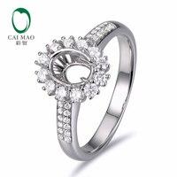 Caimao 5x7mm Oval Cut Semi Mount Setting Ring 14K White Gold Natural 0 56ct Diamond Engagement