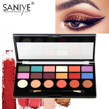 SANIYE 18 Colors Professional Makeup Shimmer Matte Eyeshadow Palette Big Eye shadow Palette with Brush E1810