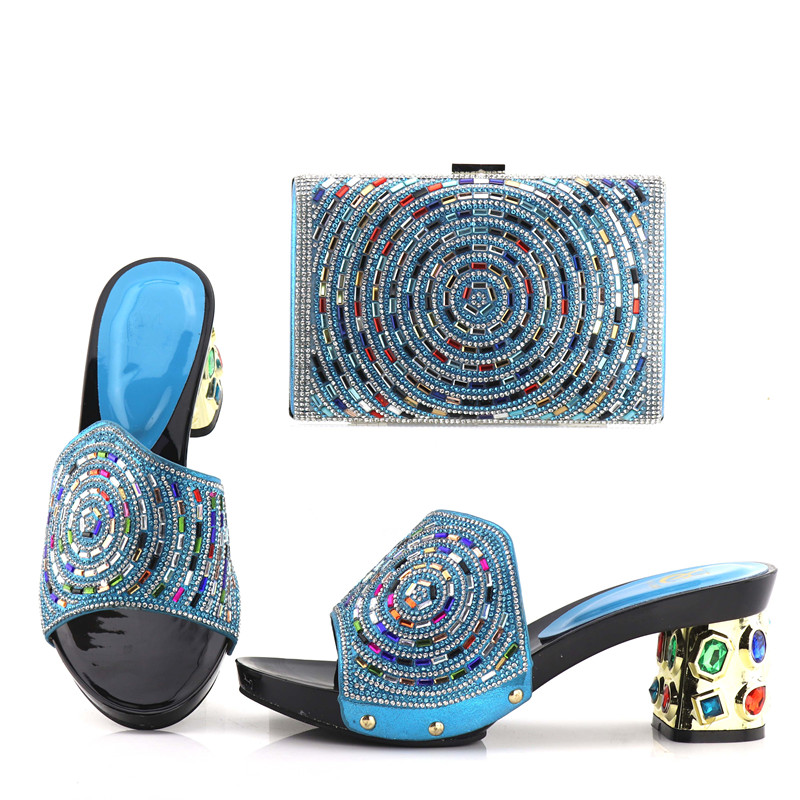 цены 2018 fashion italian shoes and bag to match women fashion slippers with clutches bag turquoise blue size 38 to 42 SB8128-2