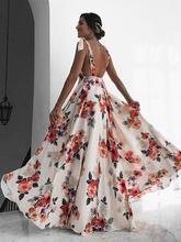 Women Boho Long Maxi Dress  Ladies Elegant Backless Bundle Waist V-neck Sleeveless Beach Sundress elegant women s sleeveless elastic waist v neck buttoned dress