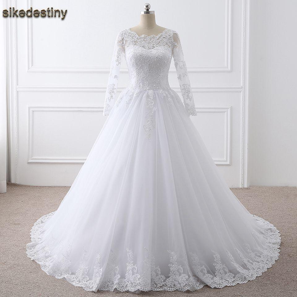 High Quality Wedding Dresses 2018 Ball Gown White Ivory Muslim ...