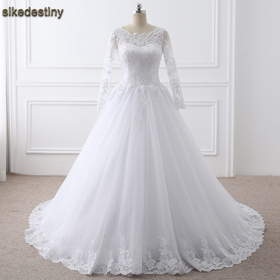 White Long Sleeves Wedding Dresses 2018 Ball Gown Lace