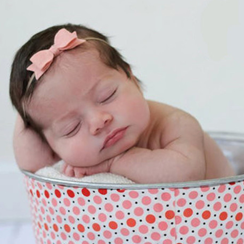 Newborn Top Bow Headband Felt cloth With Nylon Elastic Baby Girls Headwear Hair accessories Infant Hairbows Bebes Photoprops