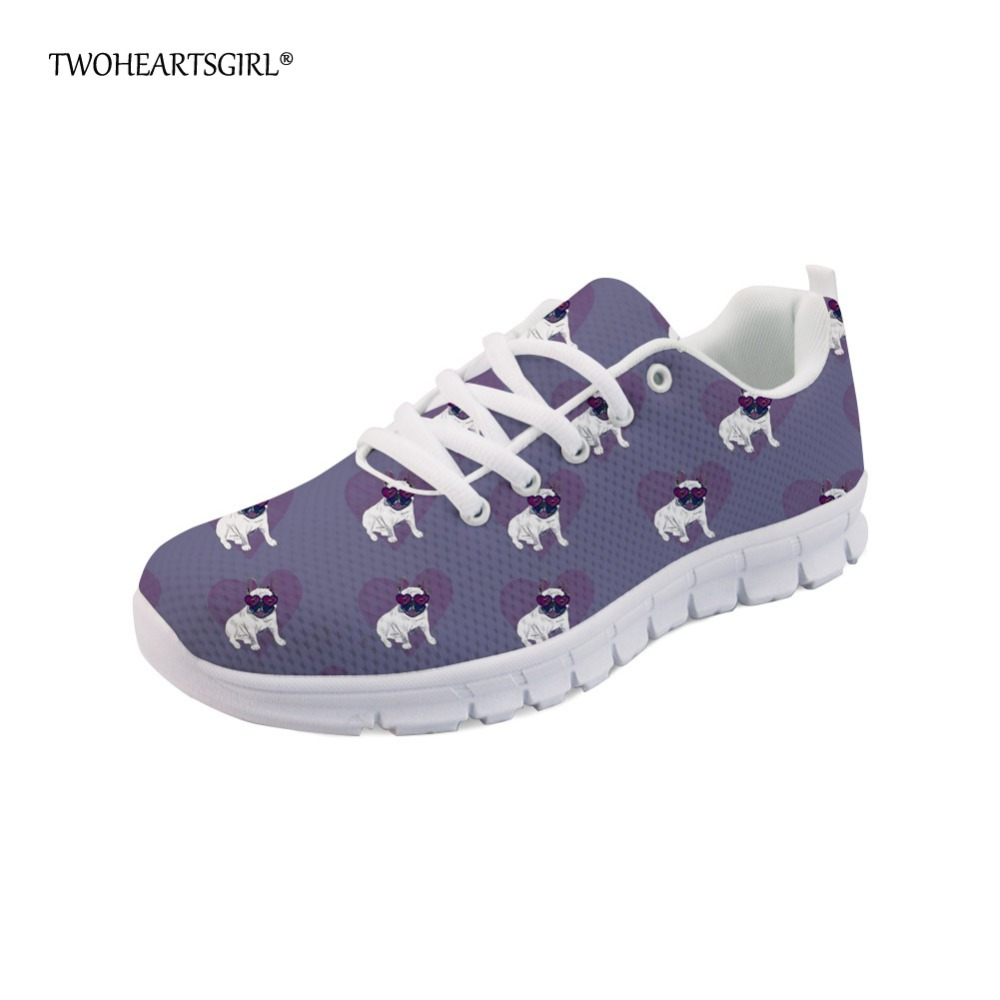 Twoheartsgirl Fashion Puppy Pug Sneakers Cute Printing Animal Panda Dog Flats Women Casual Shoes Breathable Ladies Mesh Shoes forudesigns cute animal dog cat printing air mesh flat shoes for women ladies summer casual light denim shoes female girls flats