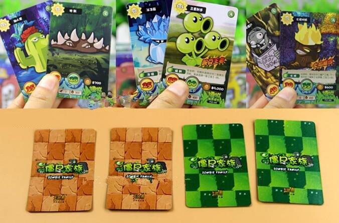 100 pcs Plants VS Zombies Cards Plants Zombies War Action Figures Toys for kids