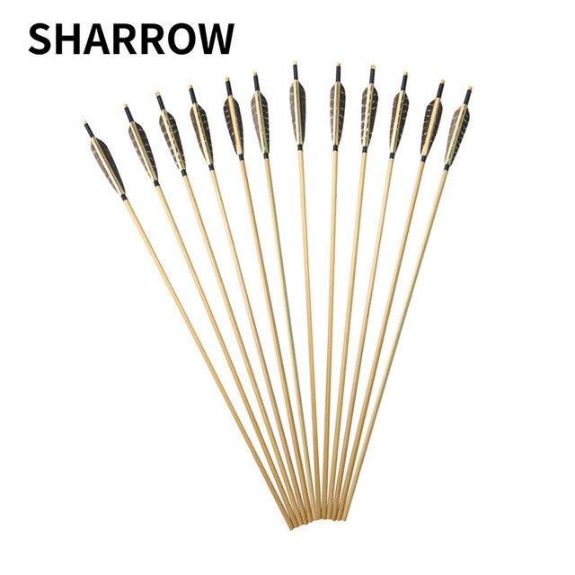 6 pçs seta de madeira 80cm convencional eixo de madeira com 5 polegada escudo pena para caça tiro com arco e flecha haste