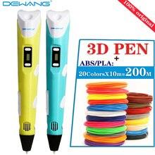 Оригинальный dewang 2nd поколения 3D печать Ручка светодиодный/ЖК-дисплей DIY Экран 3D ручка с пером + 200 м ABS /PLA детские игрушки подарок на день рождения