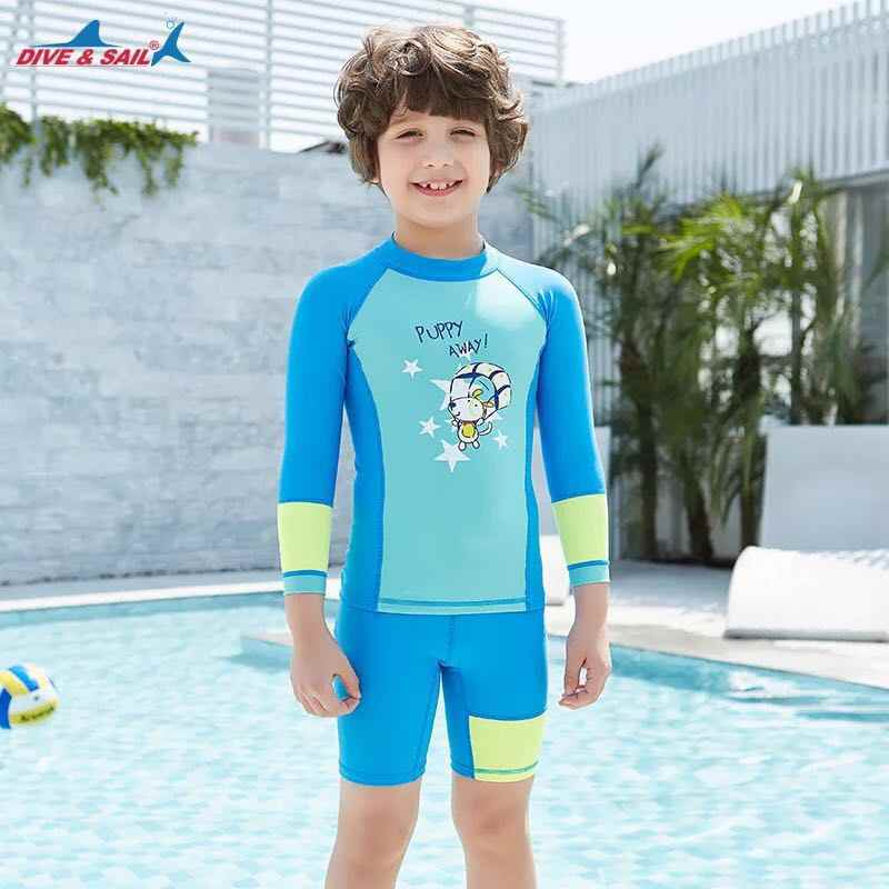 7e37f5c85f9 ... Girls Boys Swimsuit UPF 50+ UV Long Sleeve Swimwear Swimming Suits 3-12  Years ...