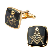 High quality men's jewelry shirt cuff Cufflinks flag Gold Masonic Masonic Cufflinks brass laser engraving(China)