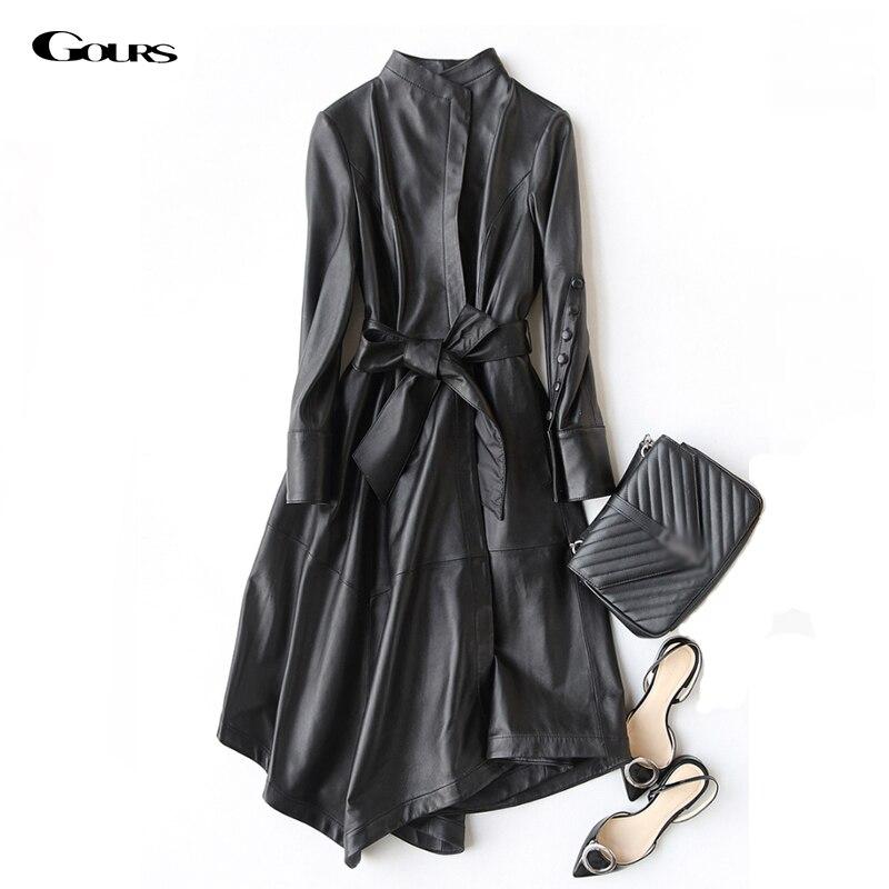 Kadın Giyim'ten Deri ve Süet'de Gours Hakiki Deri Ceket Kadınlar için Bahar Moda Klasik Uzun Kollu Ince Ceket Bayan Deri Rüzgarlık Koyun Derisi Ceket'da  Grup 1