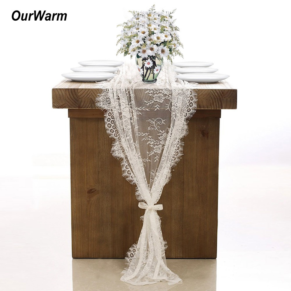 OurWarm White Lace Boho Wedding Table Jute Runner Scatter Farbic Carpet Side Beach Wedding Table Decoration For Home 70X300cm