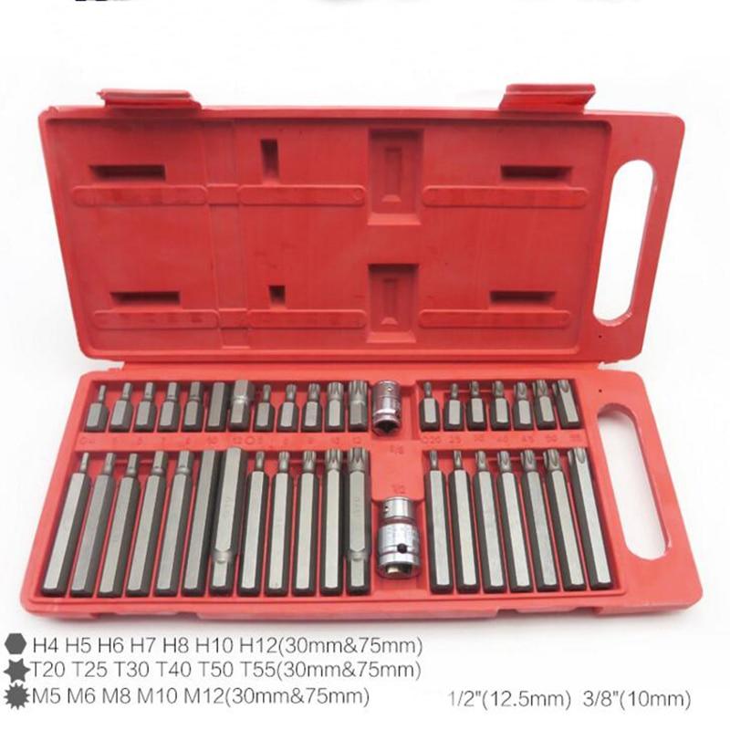 40pc Torx Star Spline Hex Allen Key Socket Bit Set 3 8 1 2 Drive Long