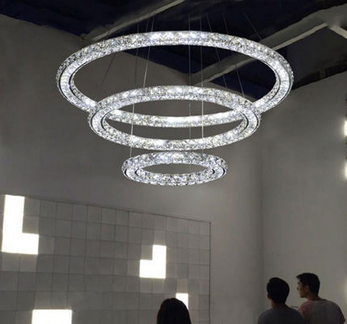 buy modern led pendant chandelier lights k9 crystal circle ring hanging lamp. Black Bedroom Furniture Sets. Home Design Ideas