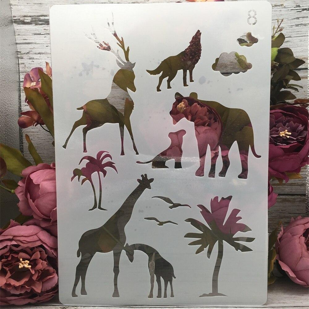 A4 29cm Giraffe Wolf Lion Deer DIY Layering Stencils Painting Scrapbook Coloring Embossing Album Decorative Paper Card Template