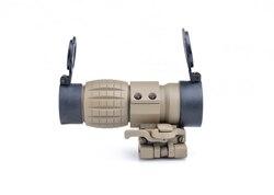 Tan red dot sight scope 3x lupa vista compacta com flip up montagem lateral picatinny airsoft rifle arma de montagem em trilho caça