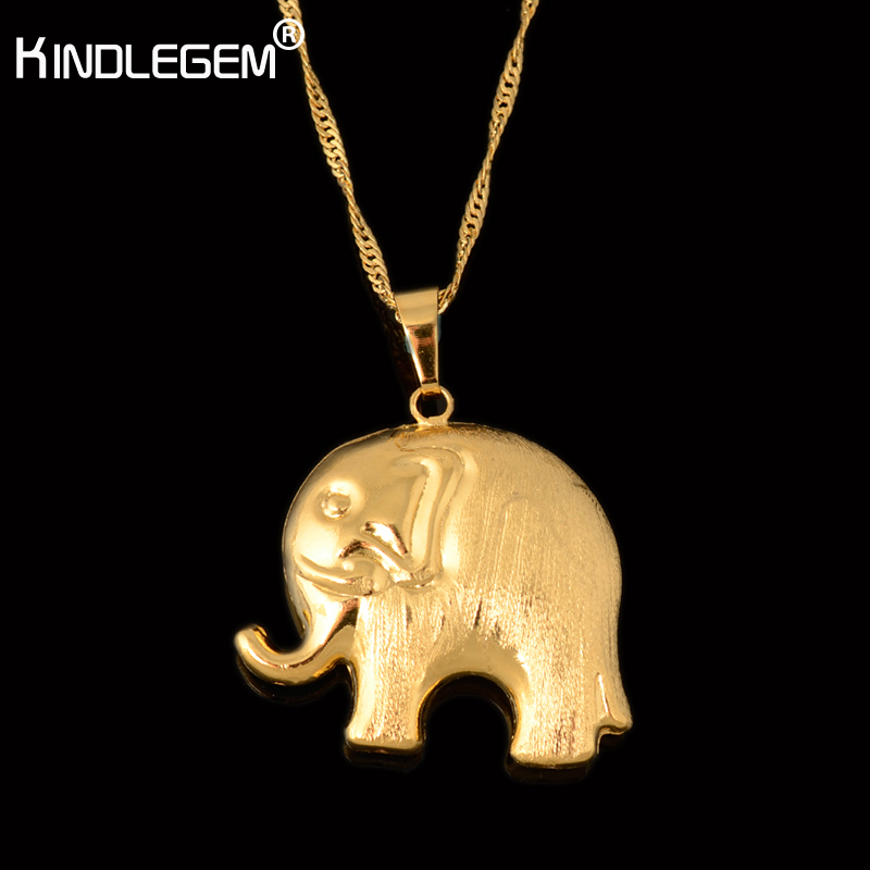 Kindlegem Style Wholesale Pure Gold Color Elephant Necklace Pendant For Women African Dubai Jewelry Italy High Quality  BijouxKindlegem Style Wholesale Pure Gold Color Elephant Necklace Pendant For Women African Dubai Jewelry Italy High Quality  Bijoux