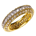 Deluxe Fashion Gold & Rhodium Full Clear crystals Top selling Round Women Brass AAA Cubic Zirconia CZ Bridal Wedding band Ring