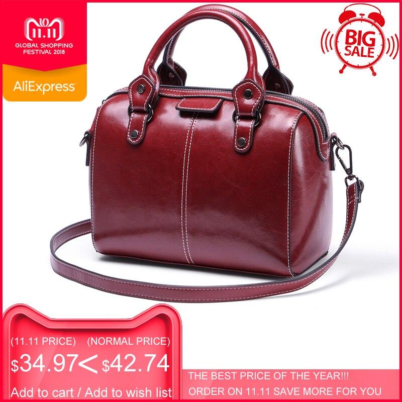 цены на 2018 ESUFEIR Brand Genuine Leather Women Handbag Real Cow leather Shoulder Bag Fashion Design Boston Women Crossbody Pillow Bag в интернет-магазинах