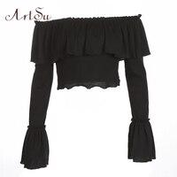 ArtSu Black Flare Sleeve Crop Top T Shirt Women Ruffle Off Shoulder Sexy Short T Shirt