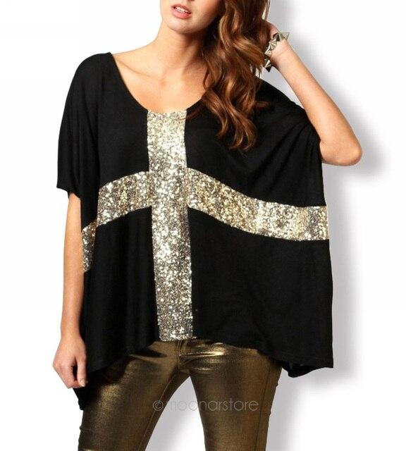 Las mujeres de Cruz con lentejuelas T camisa Blusas corto Bat manga elástico verano Plus tamaño camiseta Tops Tees mujeres