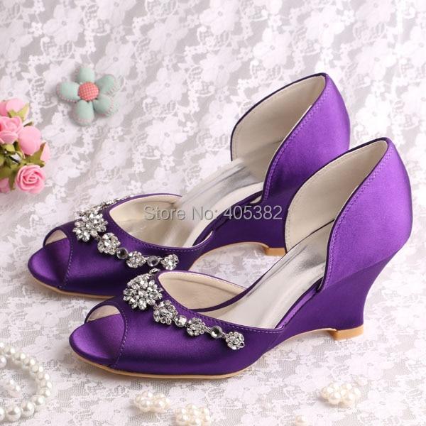 (20 Colors)Custom Handmade Peep Toe Wedge Heel Wedding Shoes Purple Satin with Charms