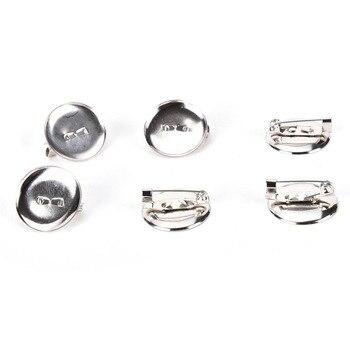 100 Uds DIY accesorios de joyería rodio plateado broche cabujón en blanco bandejas de hierro posterior broche pegamento almohadilla al por mayor