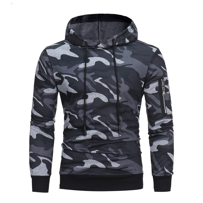 2018 Summer Mens Causal Hoodies Sudadera Camouflage Sweatshirts Hooded Pullovers Workout Tracksuits Army Military Sweat Homme