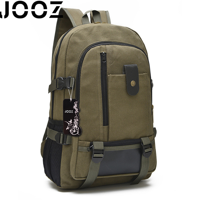 JOOZ Brand Vintage Large Capacity Travel Wearproof Waterproof Canvas Backpack With Two Side Pockets For Women