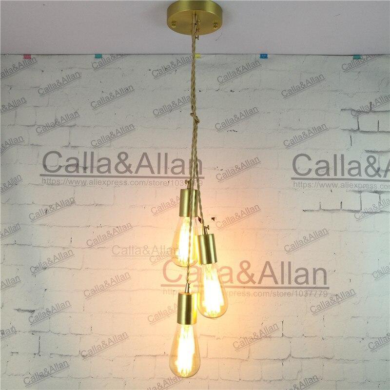 E27 brass material DIY pendant light fixture edison bulb 40W vintage ...