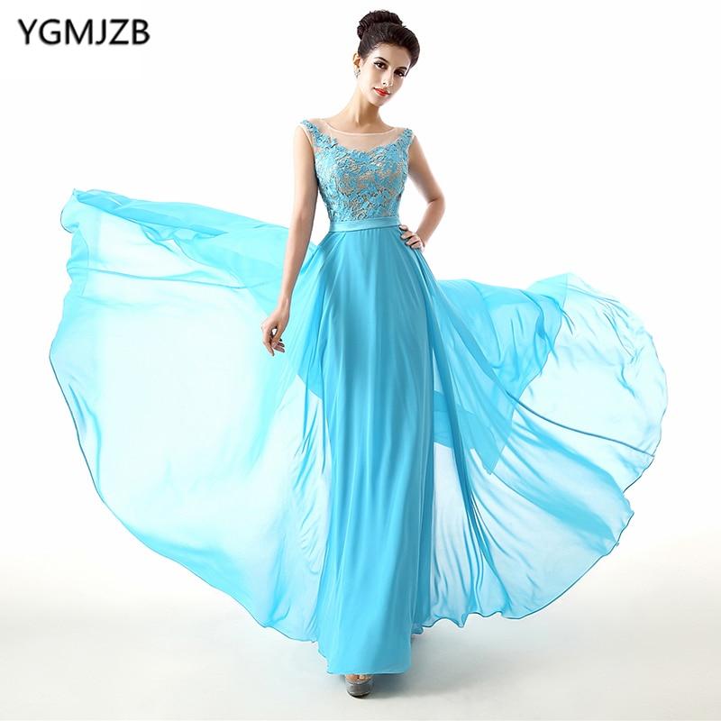 Cheap   Bridesmaid     Dresses   2018 A Line Scoop Cap Sleeve Floor Length Chiffon Lace Wedding Party   Dress   Blue Long   Bridesmaid     Dress