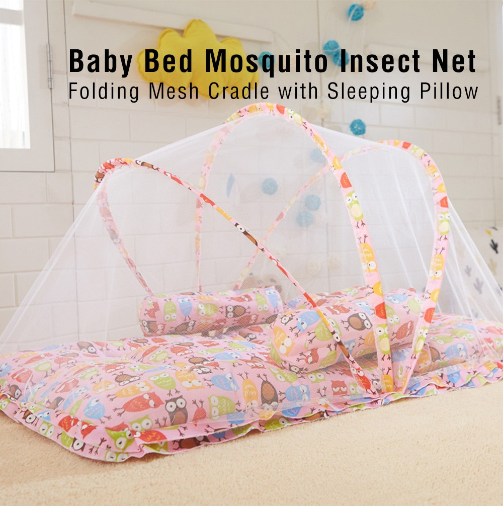 Baby bed mosquito insect net folding mesh cradle with sleeping pillow hammocks outdoor furniture
