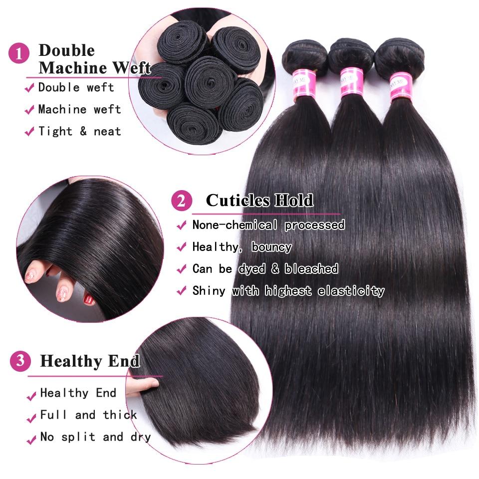 Human Hair 3 Bundles With Closure Brazilian Straight Hair Bundles - Menneskehår (sort) - Foto 3
