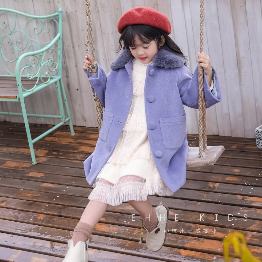 Autumn and winter woolen coat girls 2018 winter new embroidery handmade flower in the long section fur collar thick jacket children s jacket 2018 new autumn and winter boys woolen coat fashion plaid children s long suit collar collar woolen coat