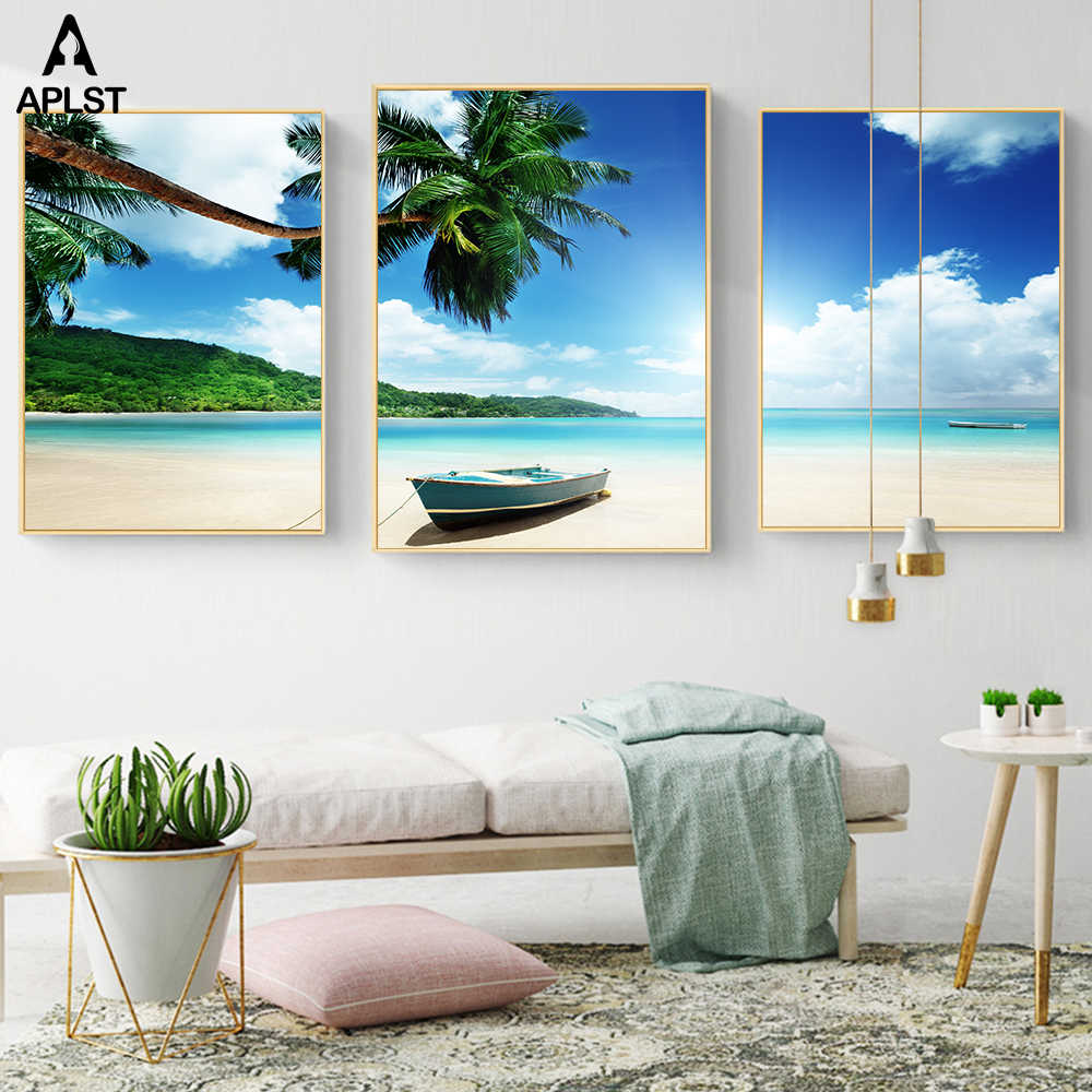 Summer Beach Coconut Tree Photography Poster Wall Decoration Fishing Boat Canvas Prints Painting Art Picture Mural Decal Decors