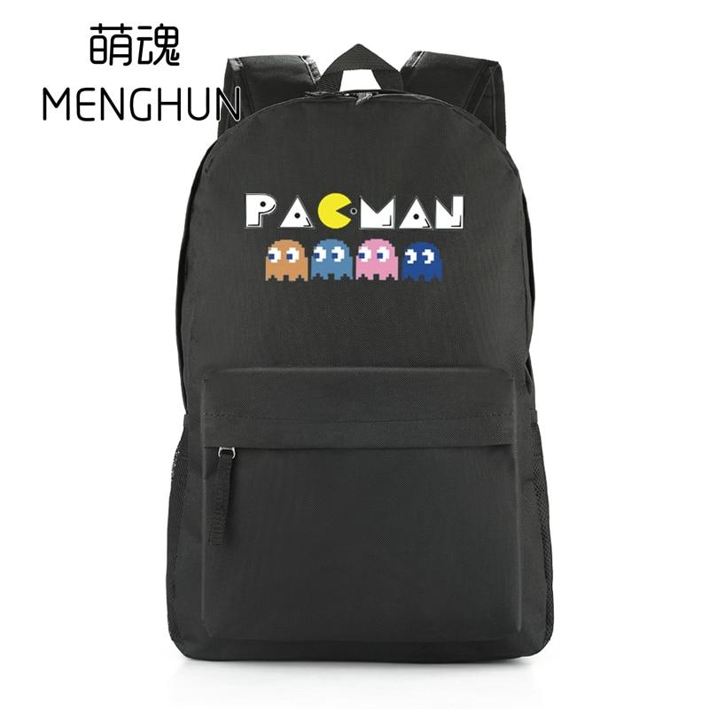 Big black  nylon backpacks nylon game fans school bag retro game PACMAN 8 bit effect PAC MAN backpacks nb233