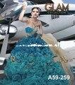 México designer surpreendente oceano aqua princesa bola vestido de saia de babados de organza frisado quinceanera vestido