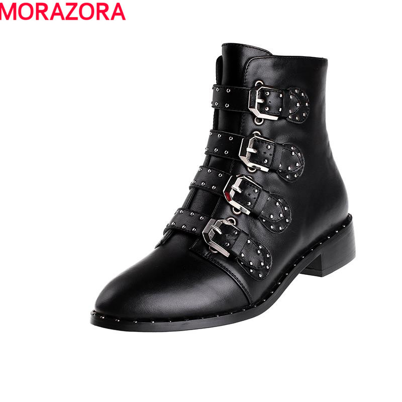 ФОТО 2017 new fashion women boots punk hot sale rivets solid round toe buckle ankle boots autumn winter spring shoes