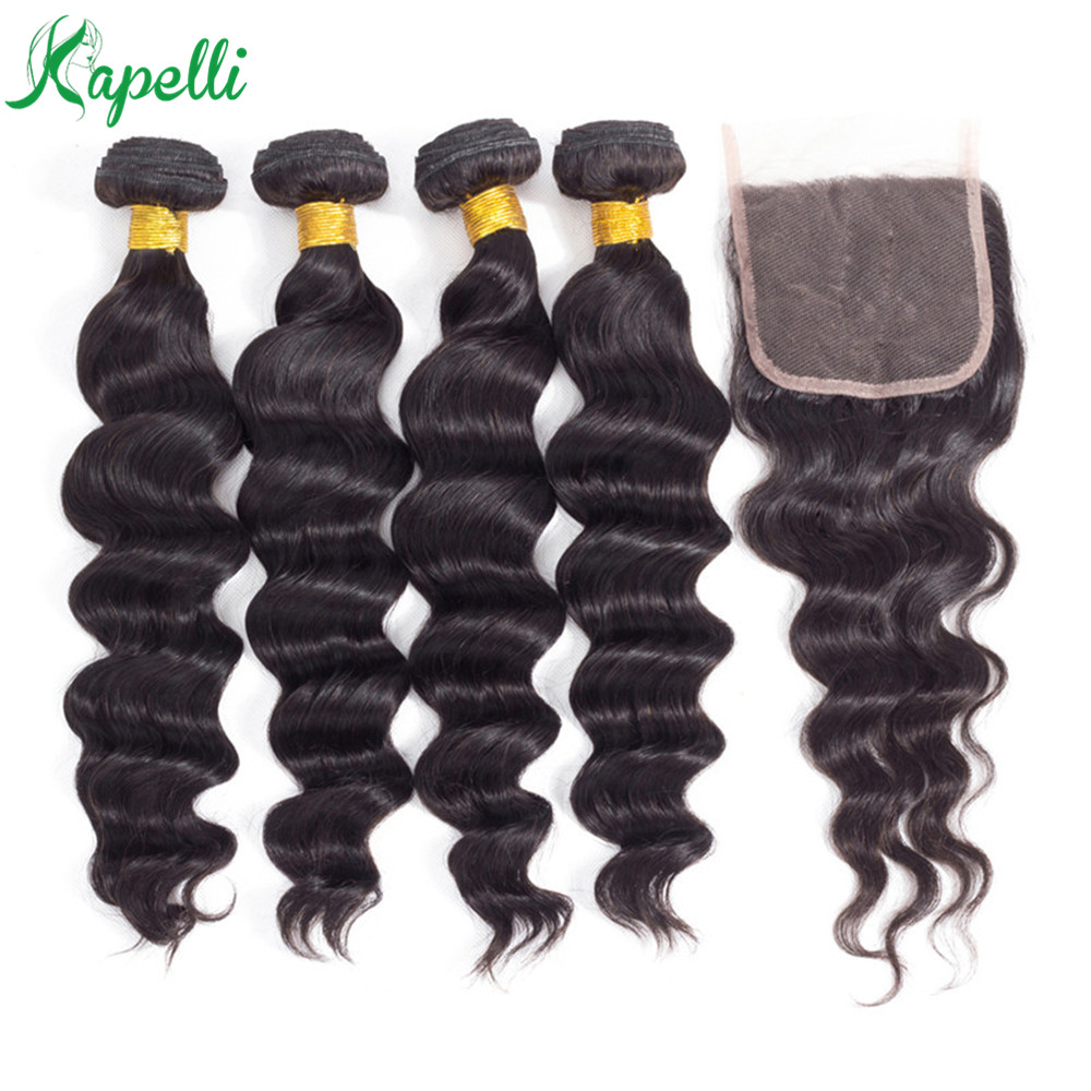 Loose Wave Bundles With Closure Non Remy Human Hair Bundles With 4*4 Lace Closure Brazillian Hair 3/4 Bundles With Closure