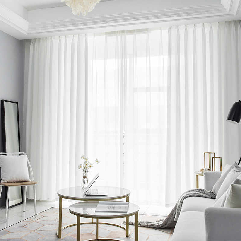 Solid Sheer Tulle Curtains For Living Room Modern Curtains For Bedroom Window Voile Curtains Fabrics Blinds Drapes S136&30